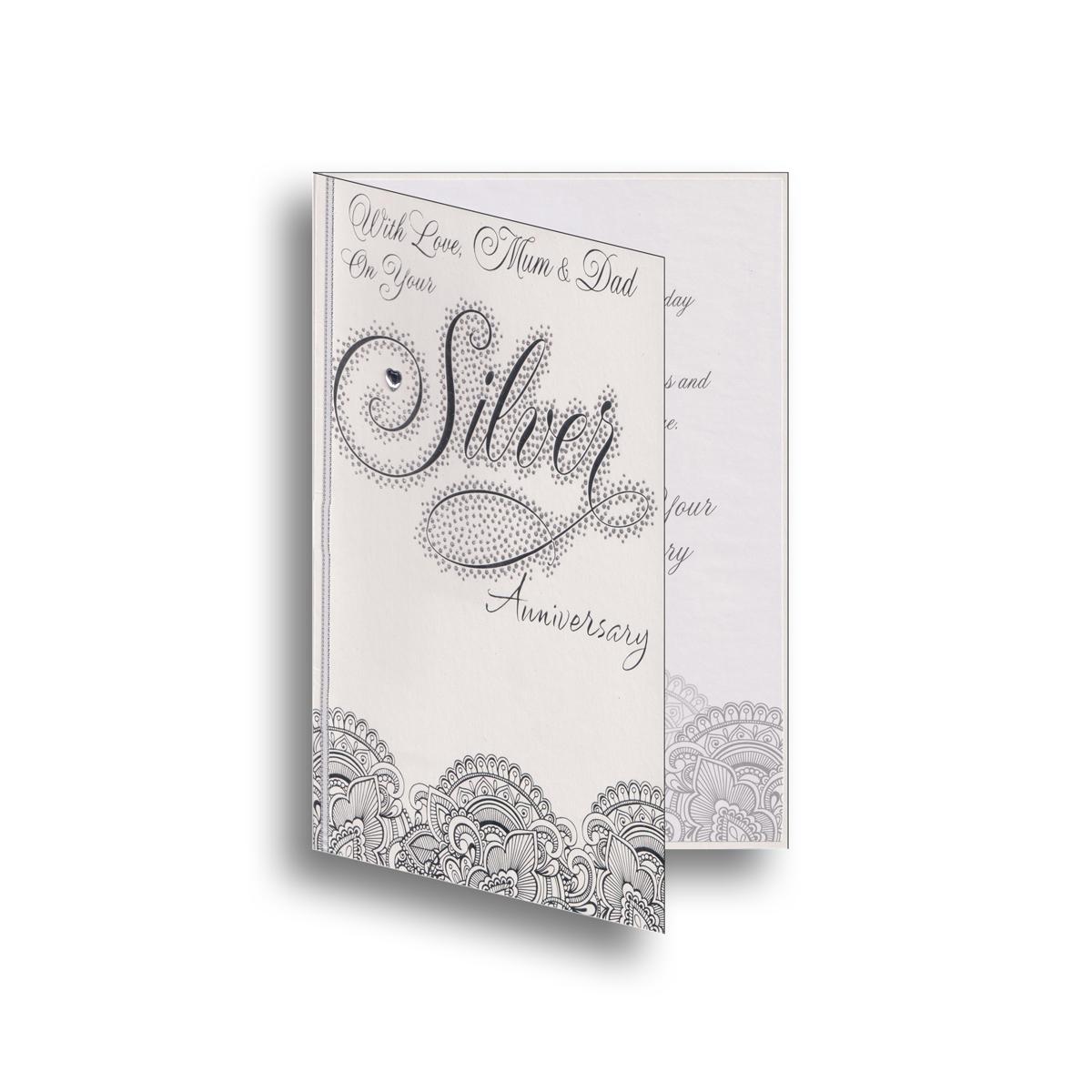 silver wedding anniversary parents card car4009